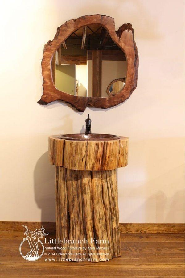 Tree stump vanity with mirror
