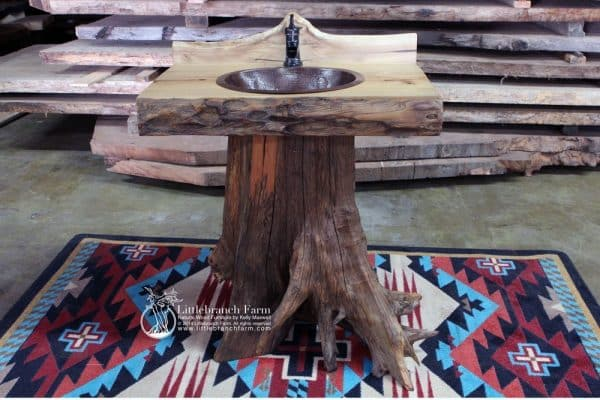 Tree stump log vanity on area rug