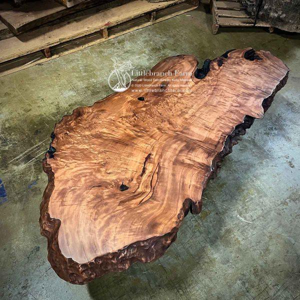 Live edge redwood burl wood.