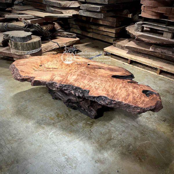 Natural redwood burl coffee table.