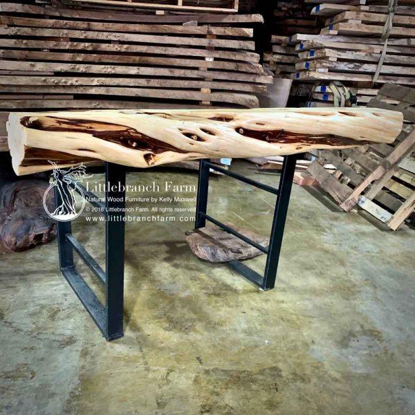 Log fireplace mantel