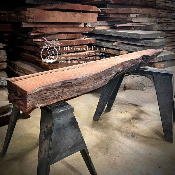 Raw edge rustic mantel