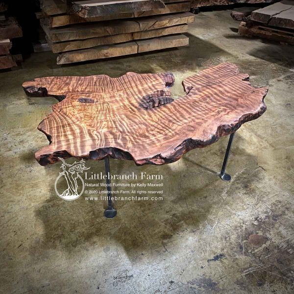 Lice edge curly redwood floating coffee table.