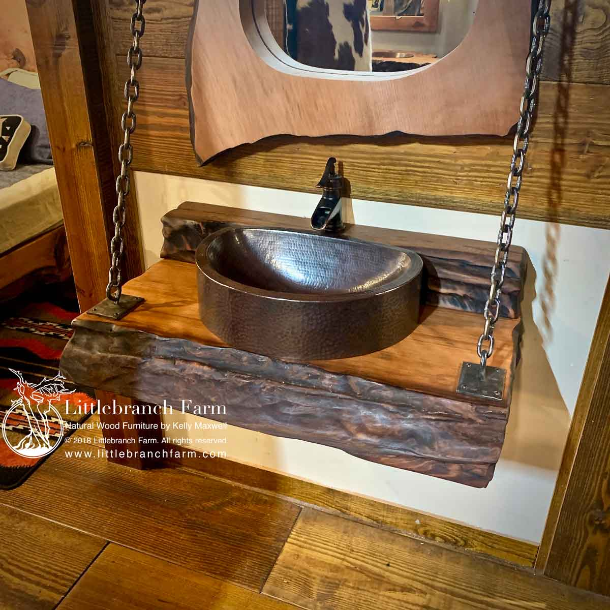 Live Edge Wood Vanity Rustic Floating Vanity Littlebranch Farm