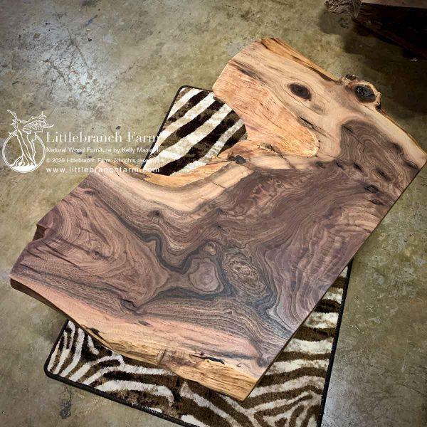 Live edge Claro walnut wood slab.