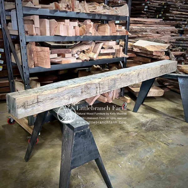 Reclaimed barn wood mantle