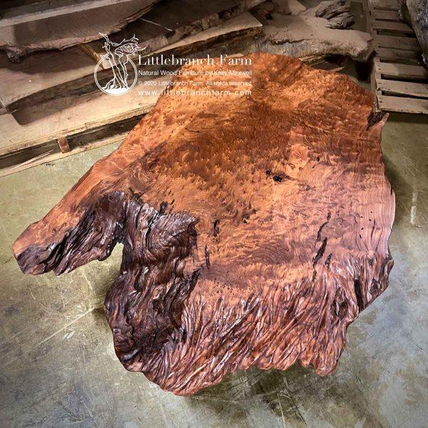 Live edge Redwood burl wood slab