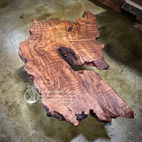 Old-growth curl redwood slab.