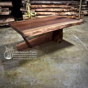 Natural wood slab coffee table