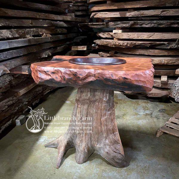 Tree stump bathroom vanity.