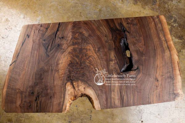 Claro walnut live edge wood slab.