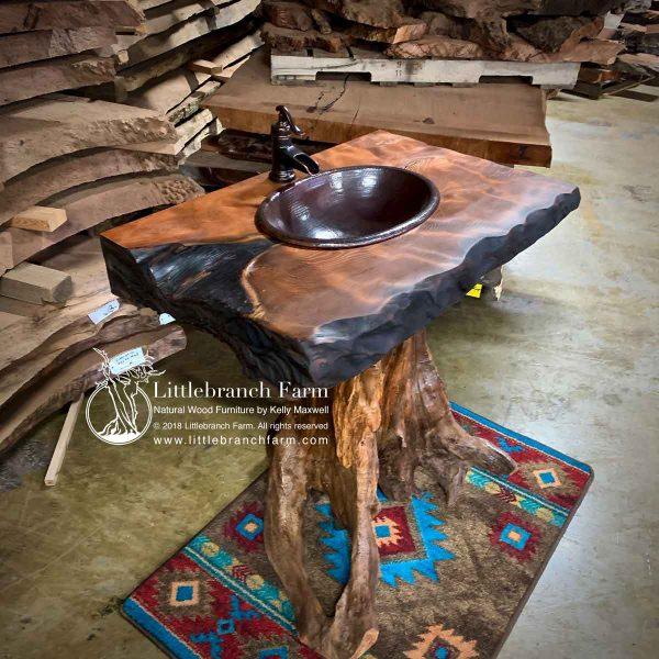 Tree stump rustic vanity