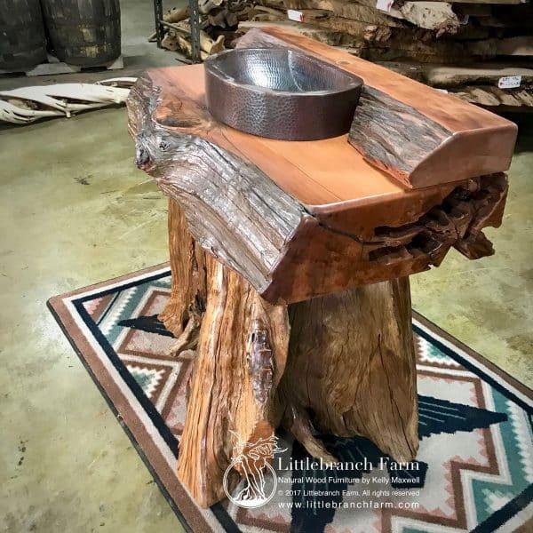 Large rustic log vanity