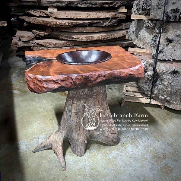 Western cedar tree sink with wood slab countertop.