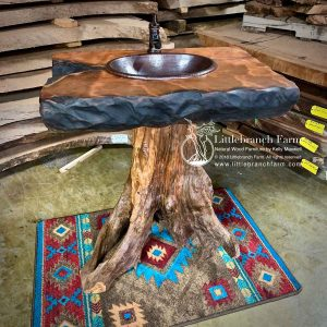 Tree stump rustic bathroom decor