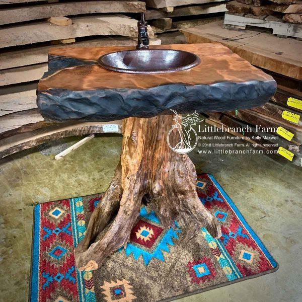 Tree stump rustic bathroom decor