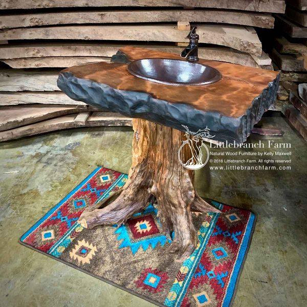 Rustic stump vanity