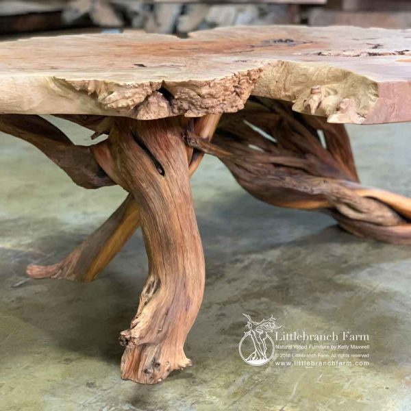 Twisted juniper log coffee table base.