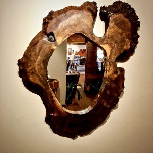 Walnut burl wood mirror