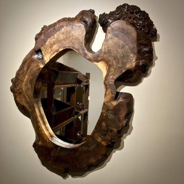 Burl wood mirror