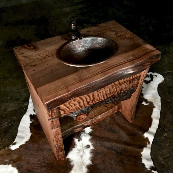 Live edge redwood rustic vanity