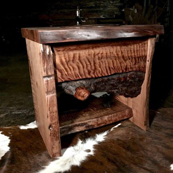 Wood slab vanity cabinet