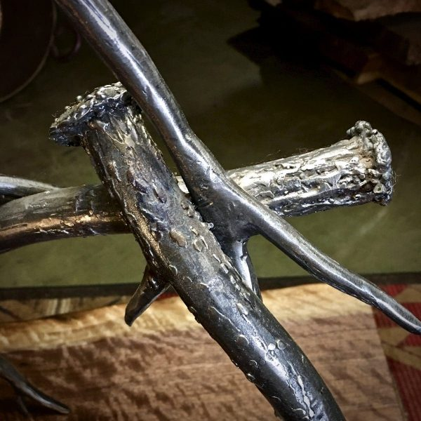rustic forged steel lamp