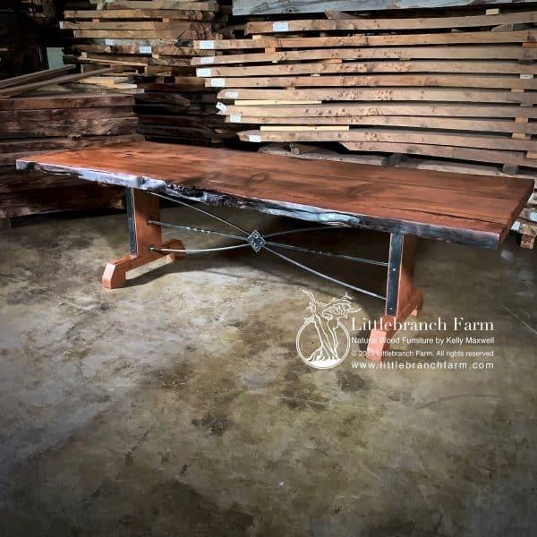Wood slab rustic dining table