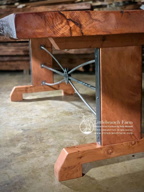 Steel and wood trestle table base