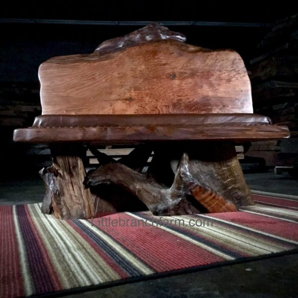 natural wood slab bench