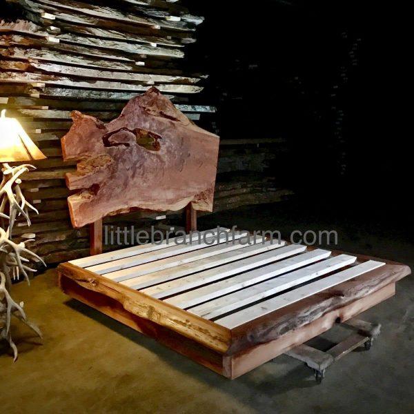 rustic redwood platform bed