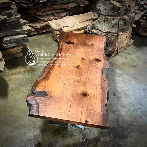 Redwood burl live edge wood slab.