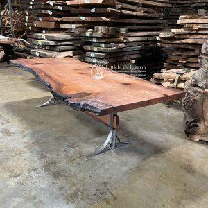 Redwood burl live edge slab dining table