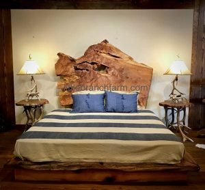 Live edge wood platform bed