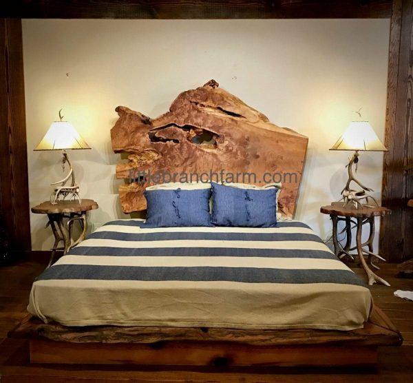 Live edge wood platform bed