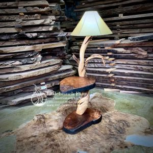 Twisted Juniper floor lamp with built in table