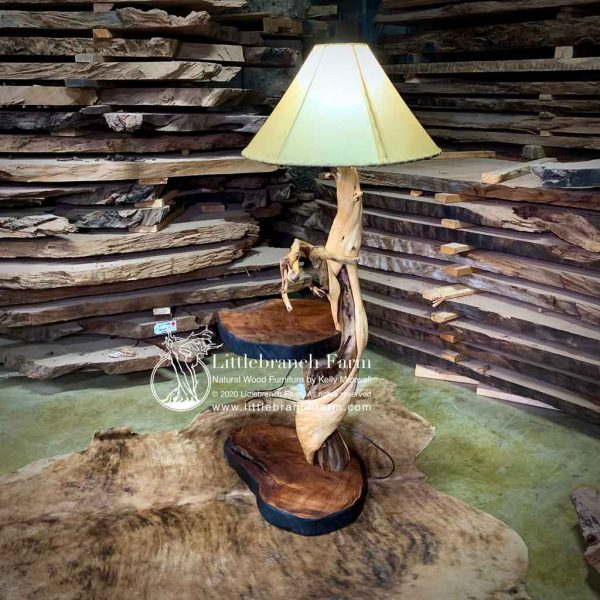 Rustic twisted juniper floor lamp with end table.