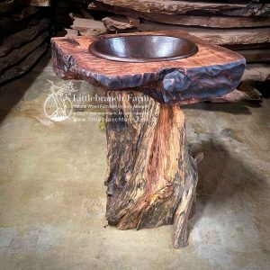 Rustic log pedestal vanity made from tree