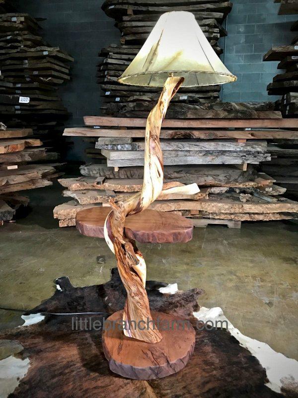 custom rustic log lamp