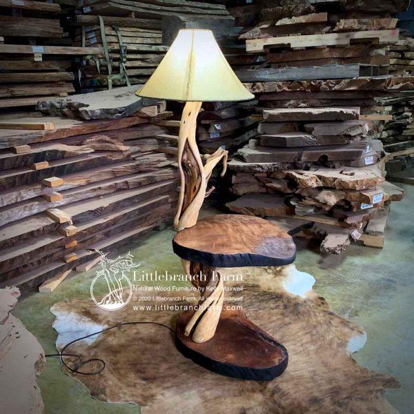 Rustic table with juniper log floor lamp.