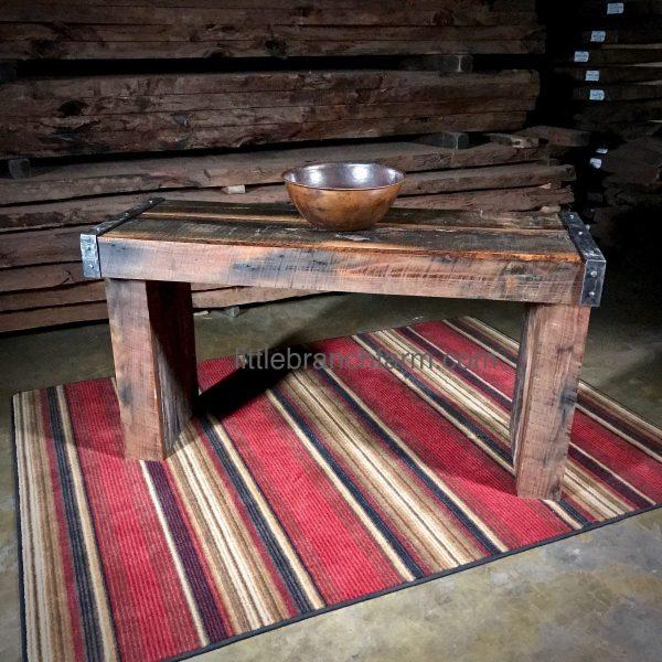 Steel and reclaimed wood vanity