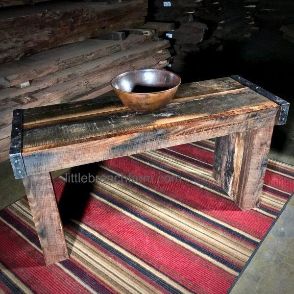 Custom barn wood slab vanity