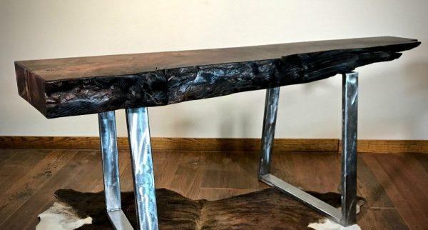 Wood slab mantel