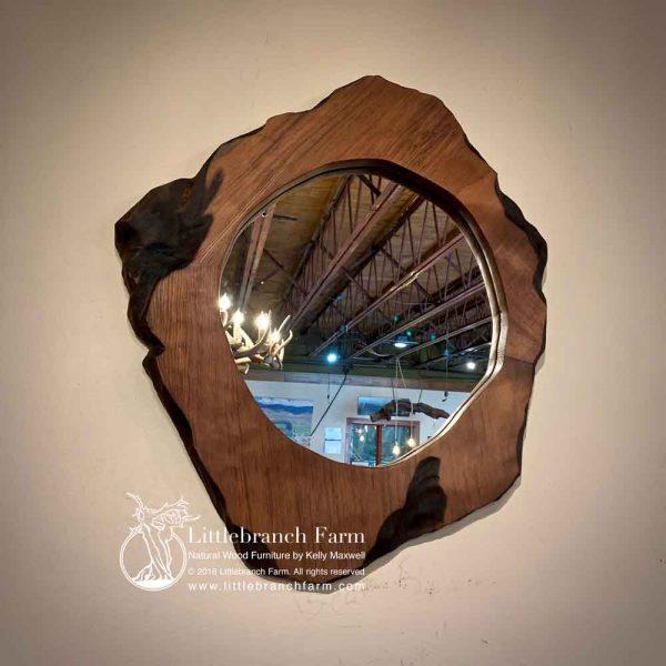 Natural wood rustic mirror