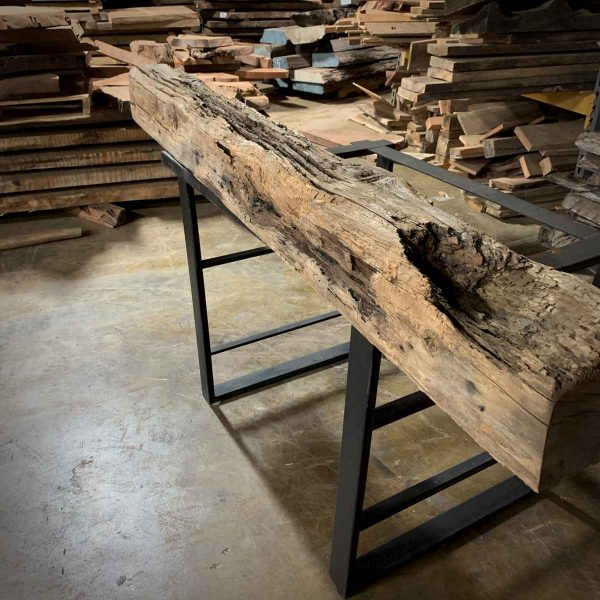 Rugged real wood rustic mantel