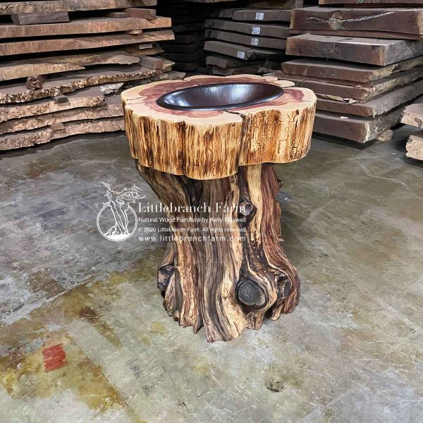 Handcrafted cedar rustic log vanity