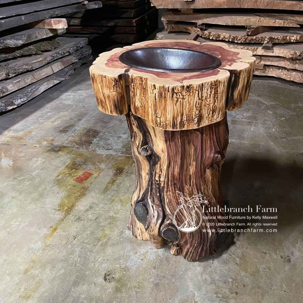 bathroom sink made from a tree