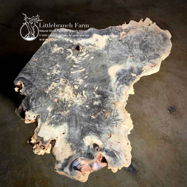 Exotic buckeye burl wood table.