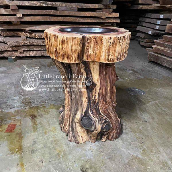 Handcrafted cedar log vanity