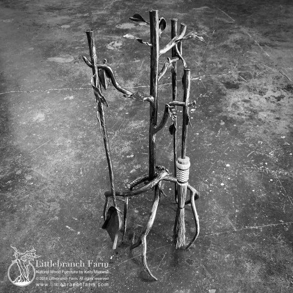 Forged steel tree fireplace tool set.